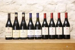 9 BOTTLES MIXED LOT FINE ITALIAN CLASSIC WINES FROM PIEDMONT COMPRISING : 2 BOTTLES BAROLO '