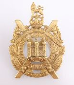 A WWI ECONOMY ISSUE ALL BRASS GLENGARRY BADGE KOSB