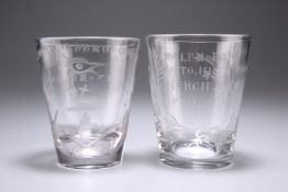 TWO ENGRAVED GLASS TUMBLERS, CIRCA 1820s