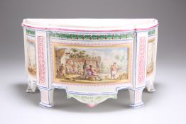 A FRENCH FAIENCE BOUGH POT AND COVER