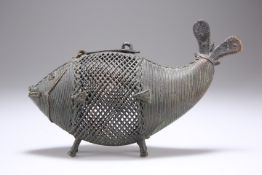 A BRASS CENSER IN THE FORM OF A FISH