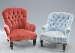 TWO VICTORIAN DEEP BUTTON UPHOLSTERD COUNTRY HOUSE ARMCHAIRS