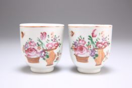 TWO 18TH CENTURY CHINESE PORCELAIN COFFEE CUPS