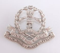 A VERY RARE WWI CAST SILVER OFFICERS' PATTERN CAP BADGE