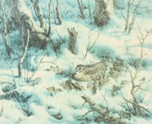 WILLIAM HOLLYWOOD (1923-1990), SNIPE IN WINTER WOODLAND