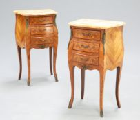A PAIR OF FRENCH FLORAL MARQUETRY AND KINGWOOD MARBLE TOPPED CHESTS