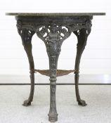 A VICTORIAN BRITANNIA CAST IRON PUB TABLE