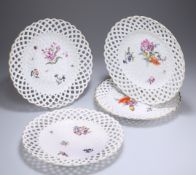 A GROUP OF FOUR 18TH CENTURY MEISSEN RIBBON PLATES