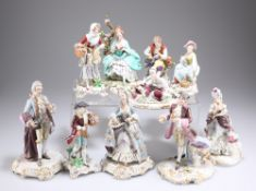A COLLECTION OF TEN GERMAN AND ITALIAN PORCELAIN FIGURES