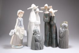 A GROUP OF FIVE LLADRO FIGURES