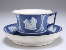 A WEDGWOOD BLUE JASPER CUP AND SAUCER