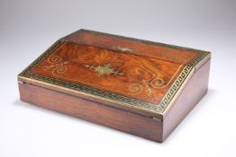 AN EARLY 19TH CENTURY BRASS-INLAID ROSEWOOD TABLE DESK