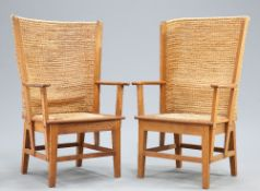 A PAIR OF OAK FRAMED ORKNEY CHAIRS BY D.M. KIRKNESS OF KIRKWALL