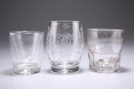 THREE 19TH CENTURY GLASS TUMBLERS