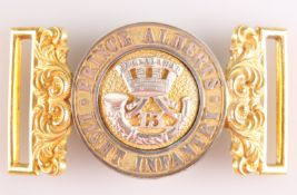 A PRE 1881 OFFICERS' PATTERN GILT AND SILVER PLATE WAIST BELT CLASP OF THE 13TH (PRINCE ALBERT'S) LI