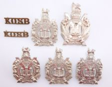 FIVE VARIANT EXAMPLES OF THE POST 1902 GLENGARRY BADGE KOSB
