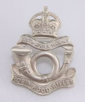 A SCARCE WHITE METAL OTHER RANKS' PATTERN CAP BADGE