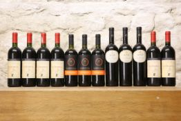 12 BOTTLES MIXED LOT GOOD ITALIAN RED DRINKING WINES COMPRISING : 3 BOTTLES CANNONAU 'PICO DEL