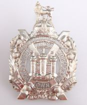 A POST 1902 DIE CAST SILVER/SILVER PLATED OFFICERS' PATTERN GLENGARRY BADGE KOSB