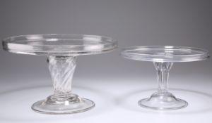 AN 18TH CENTURY GLASS TAZZA