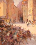 KEN MORONEY (BORN 1949), FIGURES SEATED OUTSIDE A CAFE
