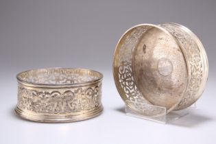 A PAIR OF WILLIAM IV SILVER WINE COASTERS