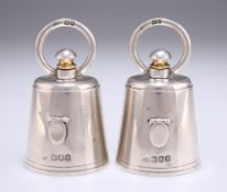 A PAIR OF EDWARDIAN SILVER NOVELTY PEPPER GRINDERS