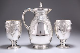 A VICTORIAN SILVER JUG AND PAIR OF GOBLETS
