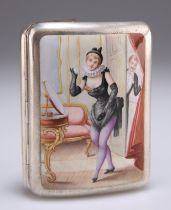 AN EARLY 20TH CENTURY CONTINENTAL SILVER AND ENAMEL CIGARETTE CASE