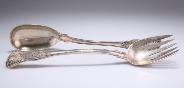 A PAIR OF VICTORIAN SILVER SALAD SERVERS