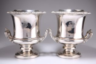 A PAIR OF OLD SHEFFIELD PLATE WINE COOLERS