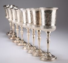 A SET OF EIGHT SILVER-PLATED GOBLETS