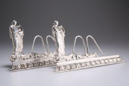 A PAIR OF GEORGE V SILVER MUSIC STANDS