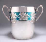 A LARGE GERMAN ART NOUVEAU SILVER-PLATED AND ENAMEL ICE BUCKET