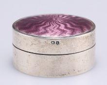 AN EDWARDIAN SILVER AND ENAMEL BOX,
