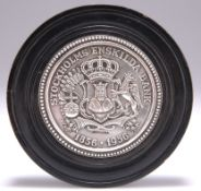 A BANK OF SWEDEN SILVER PAPERWEIGHT