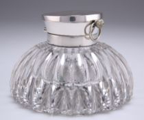 AN EDWARDIAN SILVER-TOPPED CUT-GLASS WATCH INKWELL