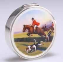 A SILVER AND ENAMEL COMPACT