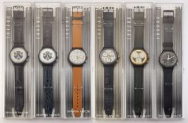 A GROUP OF SIX ASSORTED SWATCH CHRONOGRAPHS