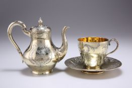 A FRENCH SILVER-GILT COFFEE POT, CUP AND SAUCER, MID 19TH CENTURY