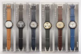 SIX ASSORTED SWATCH CHRONOGRAPH WATCHES