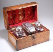A SET OF THREE GEORGE III CUT-GLASS TEA CADDIES