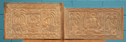 TWO CARVED WOODEN PANELS