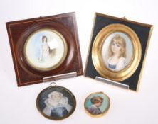 FOUR 18TH CENTURY AND LATE PORTRAIT MINIATURES