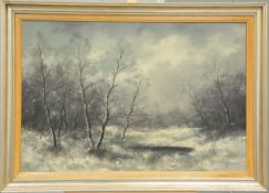 H. GEOISER (?) (20TH CENTURY), POND AND BEECH TREES IN WINTER