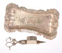 19TH CENTURY SILVER PLATED CANDLE SNUFFERS ON TRAY