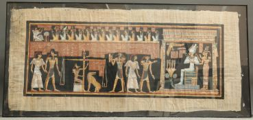 KHEDS (?) (20TH CENTURY), EGYPTIAN PAINTING ON PAPYRUS, THE WEIGHING OF THE HEART