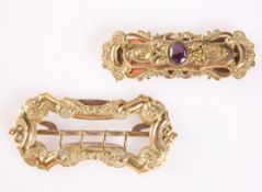TWO 19TH CENTURY GILT METAL BUCKLES
