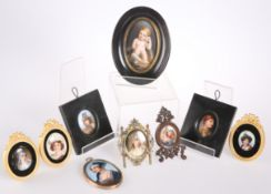 NINE VARIOUS 19TH CENTURY AND LATER PORTRAIT MINIATURES ON ENAMEL