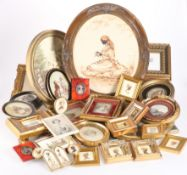 A BOX OF FRAMED MINIATURES AND PRINTS